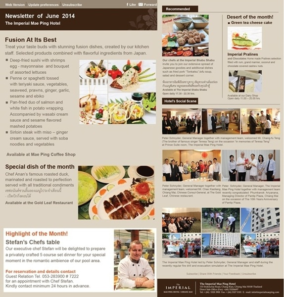 Newsletter of June 2014 @ The Imperial Mae Ping Hotel