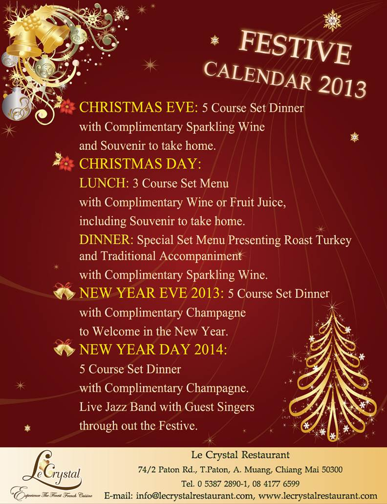 Festive Calender 2013 at Le Crystal